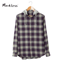 Markless New Fashion Spring Casual Men's Cotton Shirts Long-sleeve Hooded Can Be Remove Lattice Pattern Men Shirt