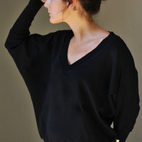 Black Big V sweater / Winter fashion / by KupuKupuBarcelona