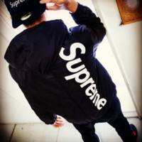 SUPREME street tide brand men and women fight color letters embroidery thicker cotton jacket jacket Black