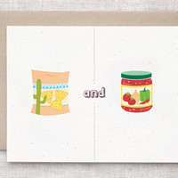 Anniversary Card - Chips and Dip, Salsa, Nachos, Mexican - Are No Match for You + Me