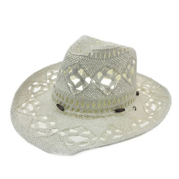 Laced Straw Beaded Cowboy Hat