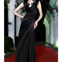 2012 New Collection Black A-line Floor Length V-neck Elastic Woven Satin Evening Dress - SinoSpecial.com