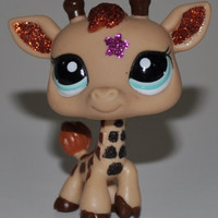 Giraffe #2348 (Sparkle Star) - Littlest Pet Shop (Retired) Collector Toy - LPS Collectible Replacement Figure - Loose (OOP Out of Package & Print)