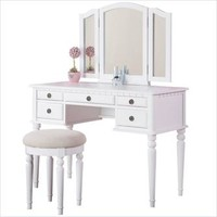 Poundex Poundex Bobkona St. Croix Vanity Set with Stool in White