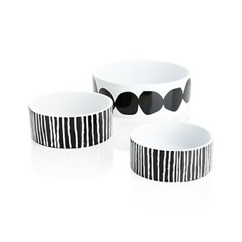 Black and White Food and Water Bowls