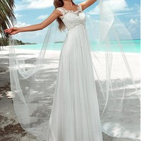 [147.99] Charming Tulle Scoop Neckline Sheath Wedding Dresses With Lace Appliques - dressilyme.com