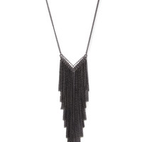 FOREVER 21 Fringed Chevron Necklace Gunmetal/Clear One