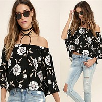Fashion Flower Print Off Shoulder Middle Sleeve Shirt Back Split Pagoda Sleeve  Tops