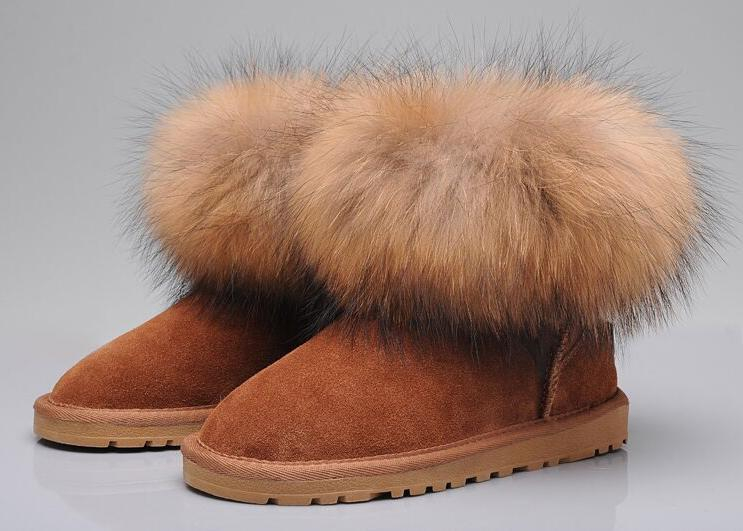 Image of UGG Women Fashion Fur Leather Snow Boots Shoes