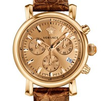 Women's Versace 'Day Glam' Chronograph Alligator Strap Watch, 38mm - Rose Gold