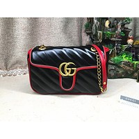 GUCCI fashionable lady casual single shoulder bag hot seller with double G Mosaic color shopping bag Black
