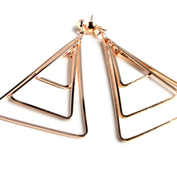 """""""What's Within"""" Gold Triangle Drop Earrings"""