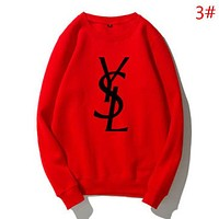 YSL Autumn And Winter Fashion New Letter Print Women Men Keep Warm Long Sleeve Sweater Top Red