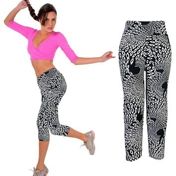 Grey print High Waist Gym Fitness Sport pant Printed Stretch Cropped Leggings