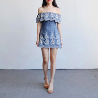 Slim Denim Zippers One Piece Dress [11612164687]