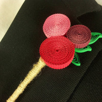 Funky Groom Boutonniere Paper Flowers - unique boutonniere, quilled flowers, paper flower boutonniere alternative, unique wedding buttonhole