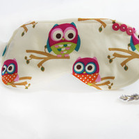 Owlsome ~ Sleep Mask Face Mask Accessories Travel Eye Mask Cotton Sleep Mask Satin Sleep Mask Owls Woodland