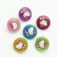 Fashion beauty 10pcs mixed Colorful Resin Hello kitty 18MM snap buttons fit snap bracelet snap jewelry NS0029