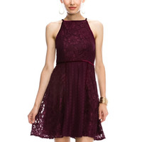 Mallorie Maroon Halter Style Lace Party Dress