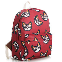 Striped Cute Korean Stripes Floral Lovely Canvas Animal Backpack = 4888028548