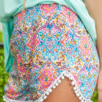 Floral Print Short with Pom Accent