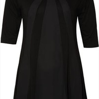 Black Jersey Longline Top With Contrasting Panels & Hanky Hem plus size 16,18,20,22,24,26