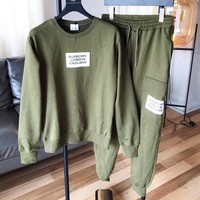 BURBERRY Autumn Winter High Quality Trending Round Collar Sweater Pants Trousers Set Two-Piece Sportswear Green