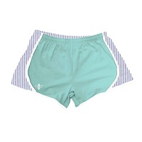 Mint Jersey with Navy Seersucker Shorts by Lily Grace