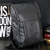 retro college style backpack black