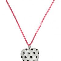 Polka Dot Faceted Heart Necklace
