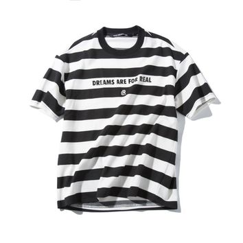 Stripes Short Sleeve Summer Sea Casual Round-neck T-shirts [9790787331]