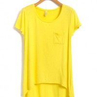 Yellow Cotton Blended T-shirt with High Low Hem