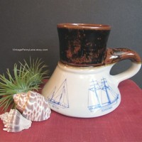 Vintage Nautical Theme Ceramic Porcelain Coffee Cup / Mug, Non Spill Mug, by Bearly Surviving California
