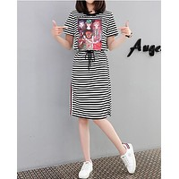 Women Casual Fashion Multicolor Letter Pattern Short Sleeve Show Thin T-shirt Dress