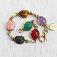 Vintage Scarab Bracelet - 12K Yellow Gold Filled Semi Precious Stone Egyptian Revival Jewelry Signed Saru  / Colorful Beetles
