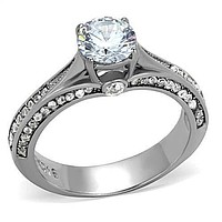 Stainless Steel 1CT Round Cut AAAAA Cubic Zirconia Travel Ring