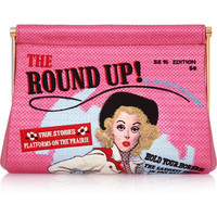 Charlotte Olympia - Round Up Maggie embroidered crepe de chine clutch