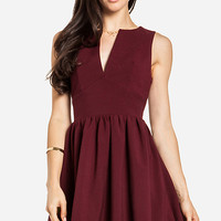 DailyLook: Plunging Fit and Flare Dress