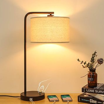 Side Table Lamp with Dual USB Ports, Dimmable Bedside Lamp Modern Nightstand Lamp Desk Reading Lamp with Linen Lampshade for Bedroom, Living Room, Study Room, Office, 8W 2700K LED Edison Bulb Included