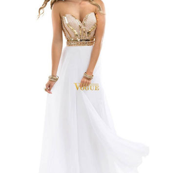 2016 New Arrival Free Shipping Best Selling Noble Beaded Sweetheart Chiffon White Rose Gold Sparkle Evening Dress Prom Gowns