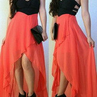 Black and Orange Strapless Cut Out Maxi Dress