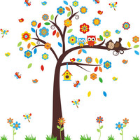 """Owl and Monkey Wall Decal, Woodland Wall Decal, Forest Wall Stickers, Cute Wall Decals for Baby Nursery, Large Tree Decal - 90"""" x 84"""""""