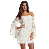 New Style Lotus Sleeve Boat Neck Sexy Lace Short Dress