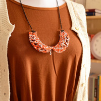 Knitted rustic bib necklace, Fabric necklace, Fiber jewelry Boho Women's accessories Eco friendly