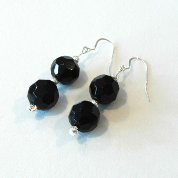 Earrings, faceted black beads with silver spacers