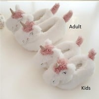 Unicorn Slippers Children Flip Flops Kids Shoes Girls White Winter Warm Plush Home Shoes Cotton Slippers Adult House Shoes 24-39