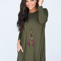 Willow Long Sleeve Swing Dress - Olive
