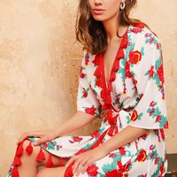 Floral Print Tassel Detail Self Belted Wrap Dress