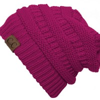 Thick Slouchy Knit Oversized Beanie Cap Hat - Hot Pink