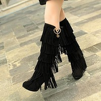 Tassel Women Knee High Boots High Heels Platform Pumps 9202